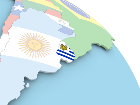 3D render of Uruguay with flag on bright globe. 3D illustration. Imagens