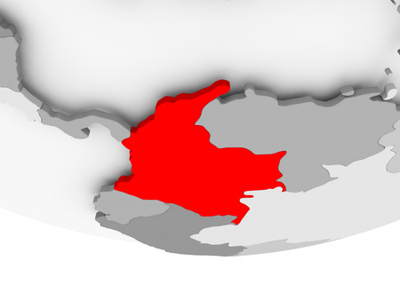 Colombia in red on grey political globe. 3D illustration. Reklamní fotografie - 89196283