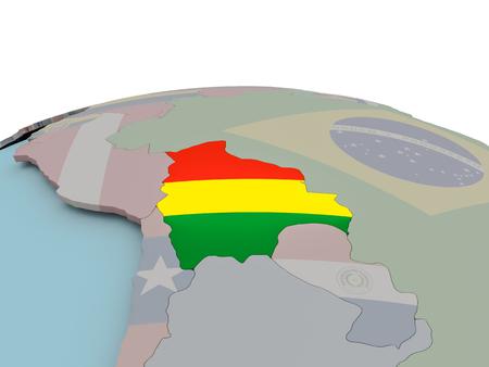 Bolivia con bandera nacional en el mundo político. Ilustración 3D.
