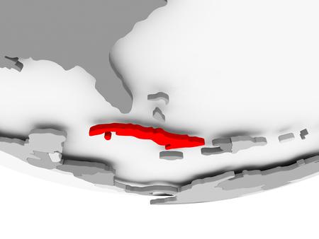灰色の政治世界の赤でキューバ。3 D イラスト。 写真素材 - 89196373