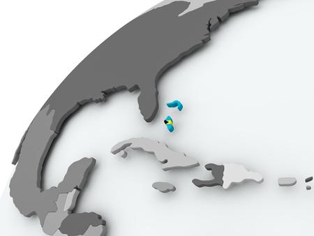 Bahamas with embedded flag on globe. 3D illustration.