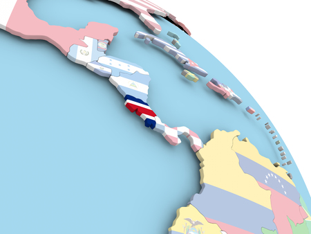 3D render of Costa Rica with flag on bright globe. 3D illustration.