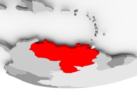 Venezuela in red on grey political globe. 3D illustration.