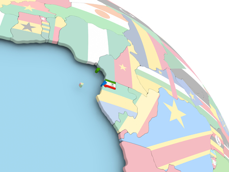 3D render of Equatorial Guinea with flag on bright globe. 3D illustration.