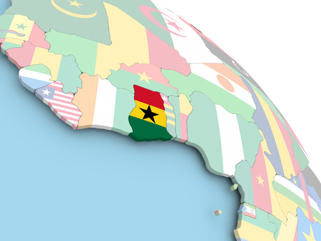 3D render of Ghana with flag on bright globe. 3D illustration. Stock Photo