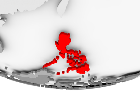 Philippines in red on grey political globe. 3D illustration.