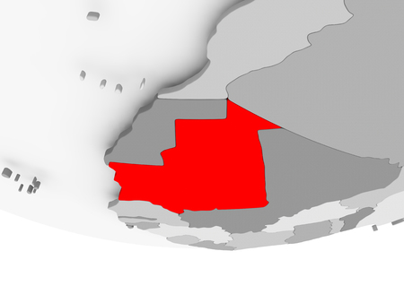 Mauritania in red on grey political globe. 3D illustration.