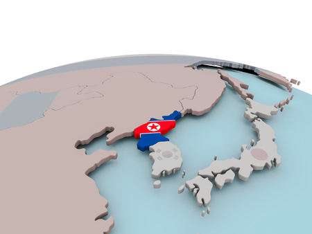 North Korea with national flag on political globe. 3D illustration.