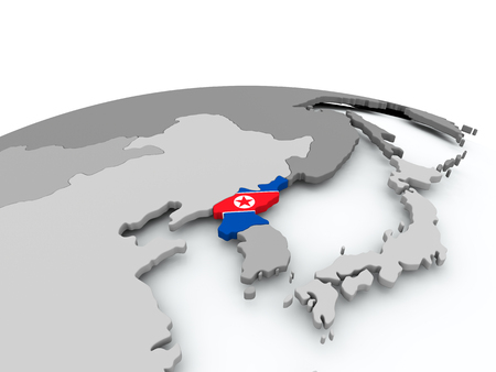 North Korea on grey political globe with embedded flag. 3D illustration. Stock Photo