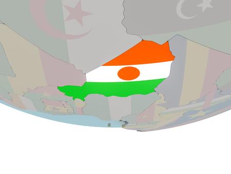3D illustration of Niger with embedded flag on political globe. 3D render.