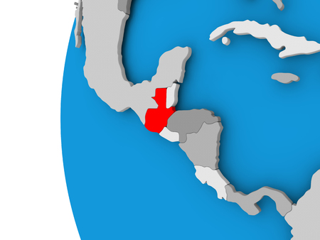 Guatemala in red on political globe. 3D illustration.