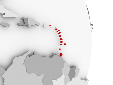 Caribbean highlighted in red on grey political globe. 3D illustration.