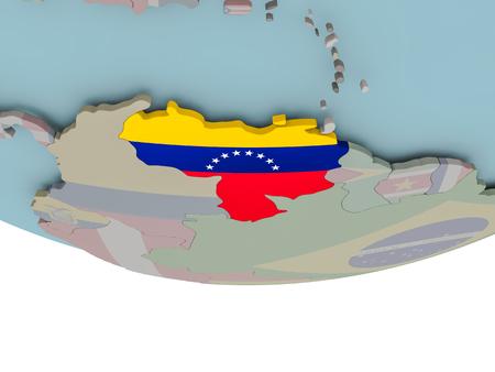 3D illustration of Venezuela with embedded flag on political globe. 3D render.