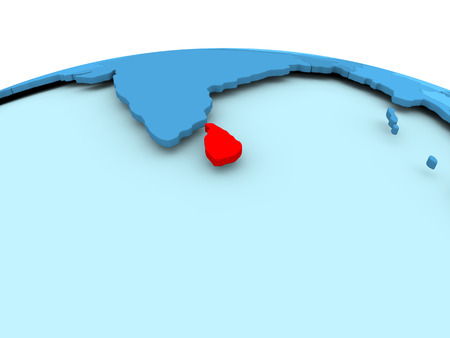 Map of Sri Lanka in red on blue political globe. 3D illustration.