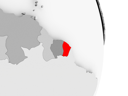 guiana: French Guiana highlighted in red on grey political globe. 3D illustration.