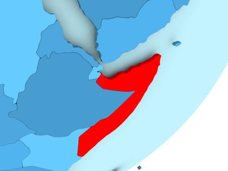 Somalia in red on blue political globe. 3D illustration.