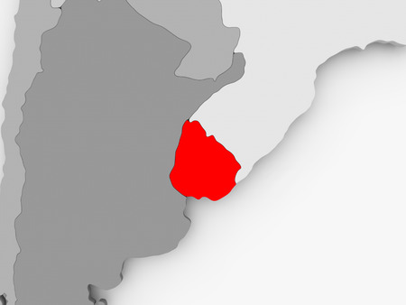 Uruguay in red on grey political map. 3D illustration.