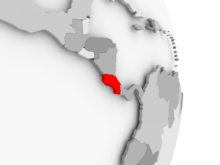 Costa Rica highlighted in red on grey political globe. 3D illustration.