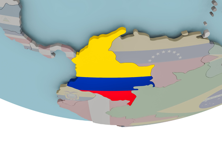 3D illustration of Colombia with embedded flag on political globe. 3D render. Stock Photo