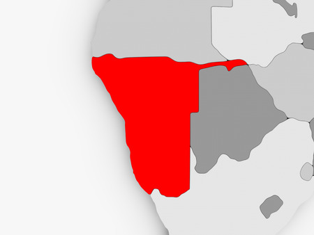 Namibia in red on grey political map. 3D illustration.