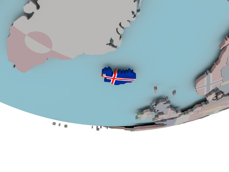 3D illustration of Iceland with embedded flag on political globe. 3D render. Stock Photo