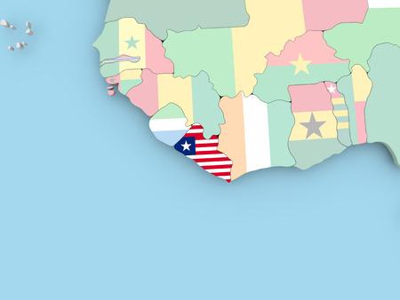 Mauritania with embedded flag. 3D illustration. Фото со стока