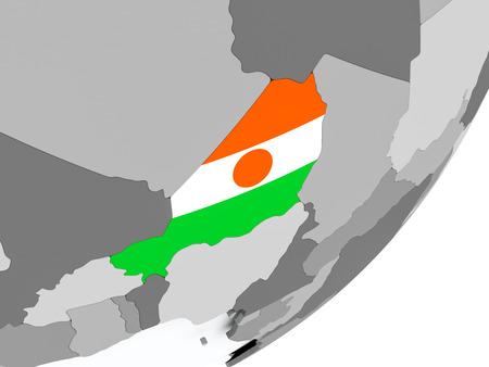 Niger on political globe with flag. 3D illustration.