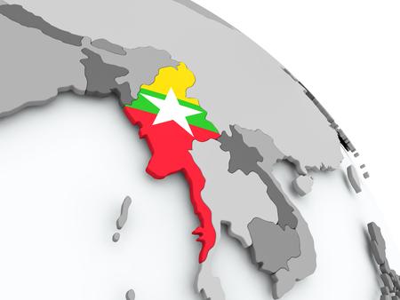 Myanmar on globe with flag. 3D illustration. Stock Photo