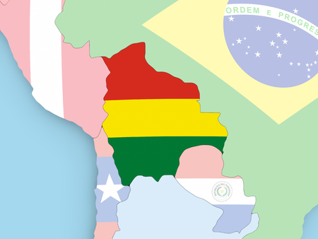 Colombia with embedded flag. 3D illustration.