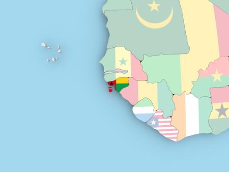 embedded: Algeria with embedded flag. 3D illustration.