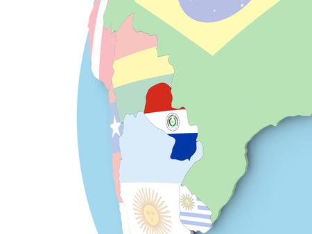Paraguay on political globe with flag. 3D illustration.