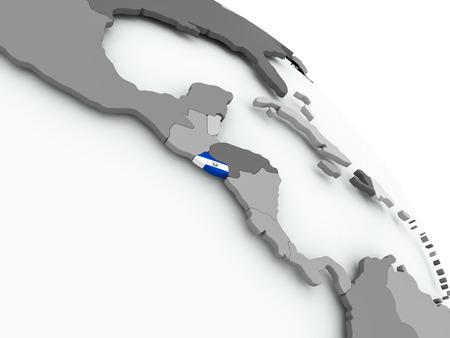 El Salvador on globe with flag. 3D illustration.