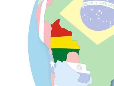 map bolivia: Bolivia on political globe with flag. 3D illustration.
