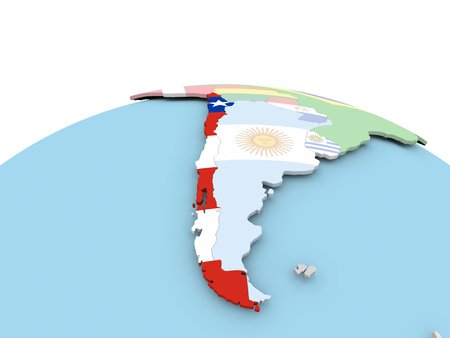 Chile on political globe with embedded flags. 3D illustration.