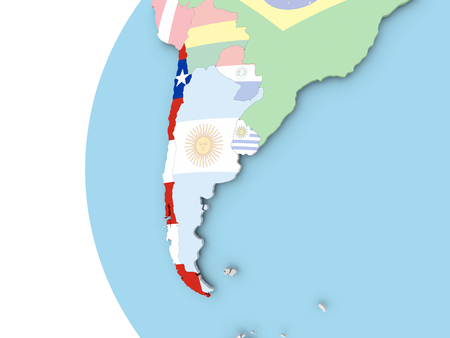 bandera chilena: Chile on political globe with flag. 3D illustration.