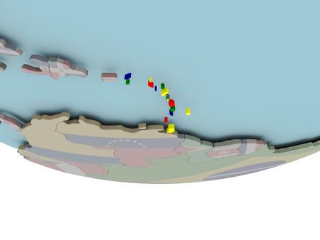3D illustration of Caribbean with embedded flag on political globe. 3D render.