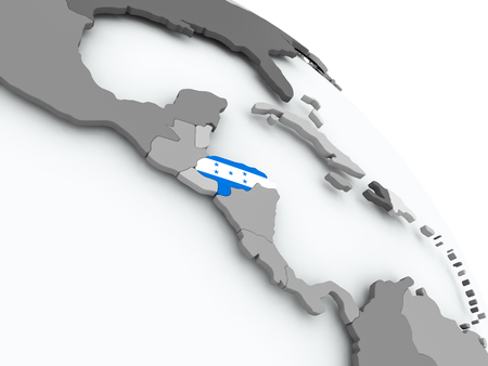 bandera honduras: Honduras on globe with flag. 3D illustration.