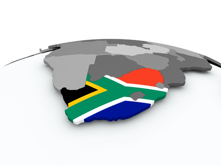 South Africa on grey political globe with embedded flag. 3D illustration.