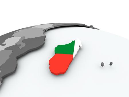 Madagascar on grey political globe with embedded flag. 3D illustration. Stock Photo