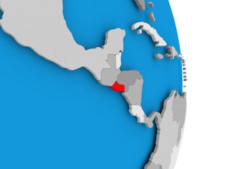 El Salvador in red on model of political globe. 3D illustration.