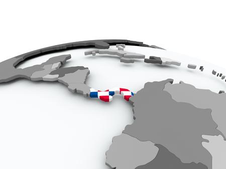 Panamá en globo político gris con bandera incrustada. Ilustración 3D.