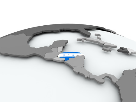 bandera honduras: Honduras on grey political globe with embedded flag. 3D illustration.