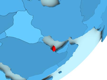 Qatar in red on blue political globe. 3D illustration.