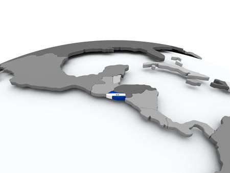 El Salvador on grey political globe with embedded flag. 3D illustration. Stock Photo