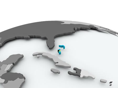 Bahamas on grey political globe with embedded flag. 3D illustration. Stock Photo