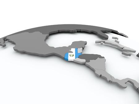 guatemalan: Guatemala on grey political globe with embedded flag. 3D illustration.