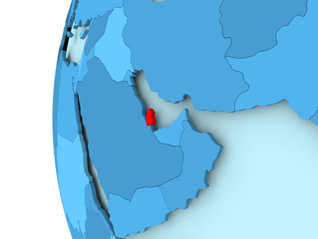 3D render of Qatar in red on blue political globe. 3D illustration. Stock Photo