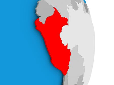 Perú en rojo en el modelo de globo político. Ilustración 3D.