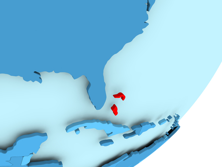 Bahamas in red on blue political globe. 3D illustration.
