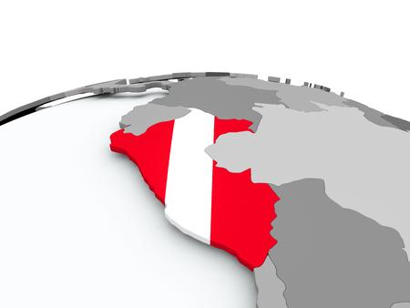Peru on grey political globe with embedded flag. 3D illustration.